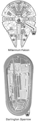 Millenium Falcon and Darlington Sparrow