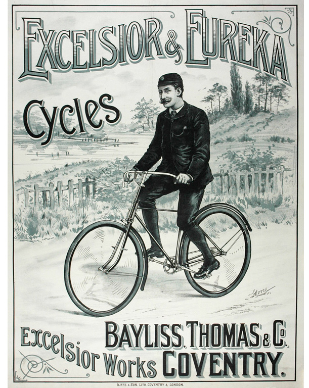 Antique Biycle Poster for Excelsior & Eureka Cycles