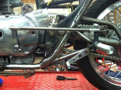 No off-the-shelf rearsets here, Tevan custom machined and built these rearsets to fit perfectly on his ride...