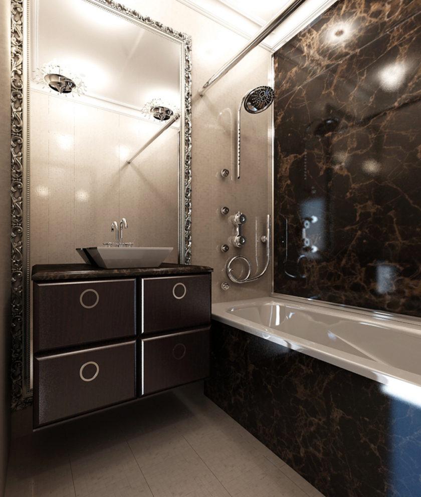 дизайн маленькой ванной комнаты без туалета 1