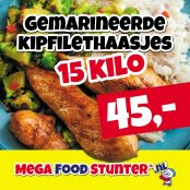 gemarineerde kipfilethaasjes 15 kilo 45 euro