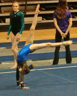 Idaho State Championships 2015 Floor Back Walkover to Handstand - Level 7