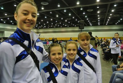 National Judges' Cup 2014 Wings Level 7 Team - Level 7 - (Left to Right) Breighlynn, Meighan (Em), Hattie, Alyssa - (in background: Level 8 Keylee)