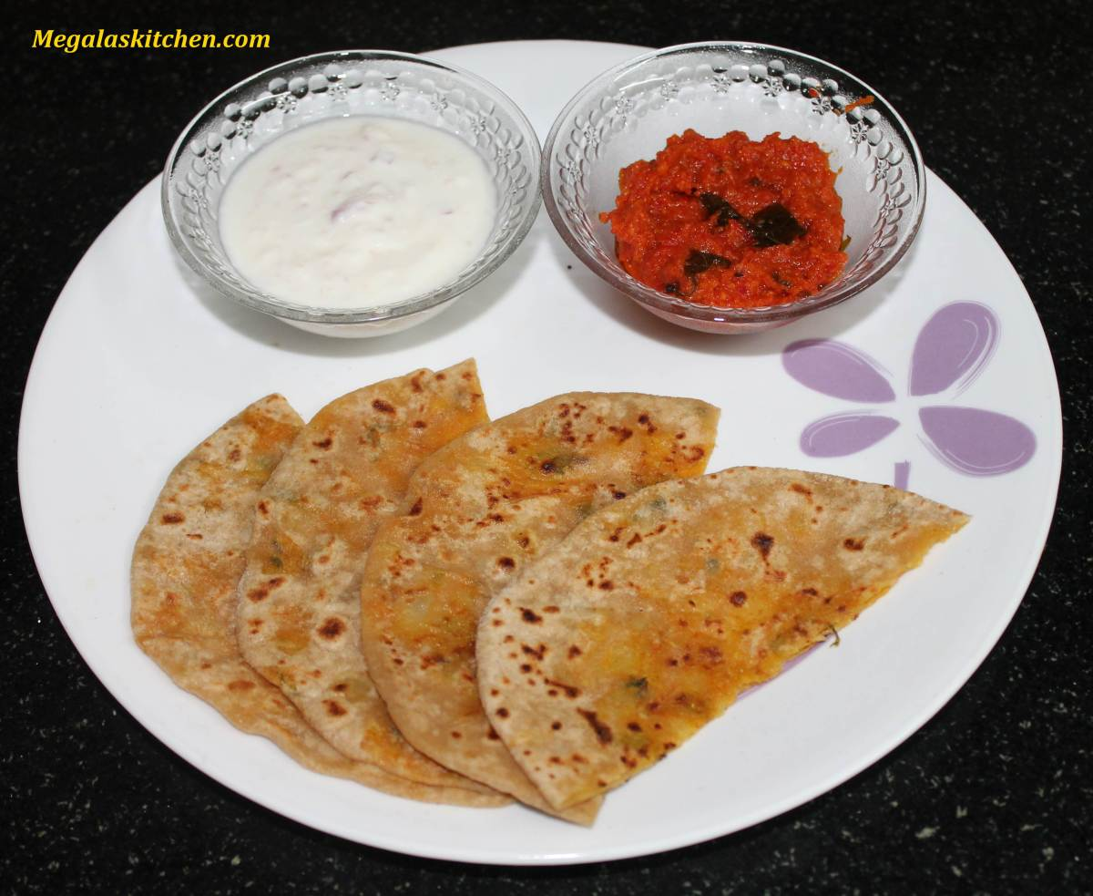 Aloo Paratha with garlic-tomato dip