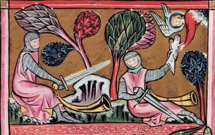 Roland intenta romper la espada durandal, Manuscrito de San Galo S.XIII