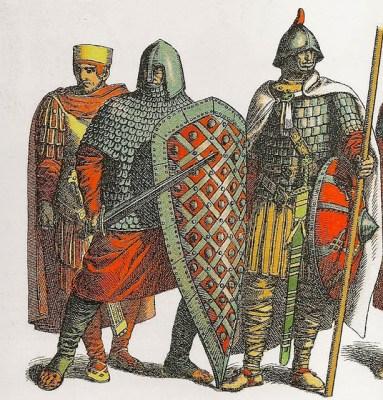 Ilustración de guerreros carolingios