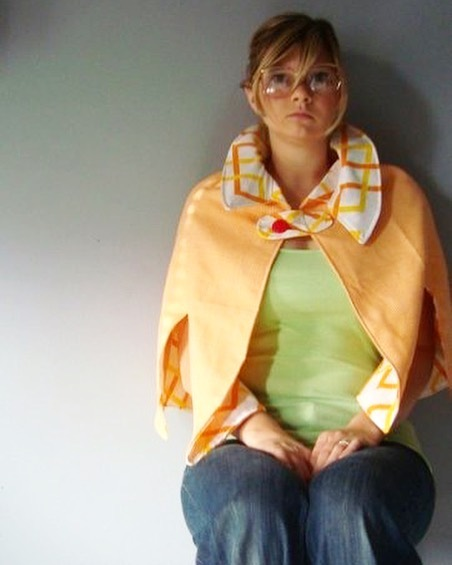 10+ years ago sitting for a self-timed photo (re: selfie) to model my line of capes made from studying vintage patterns and created out of 100% recycled materials. Williamsburg hipster moment not included