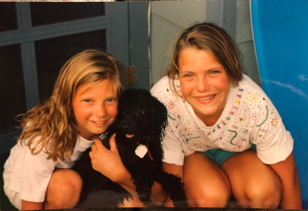 Peak 90's: Matching sister perms, Puff Paint, a poodle, and a Boogie Board