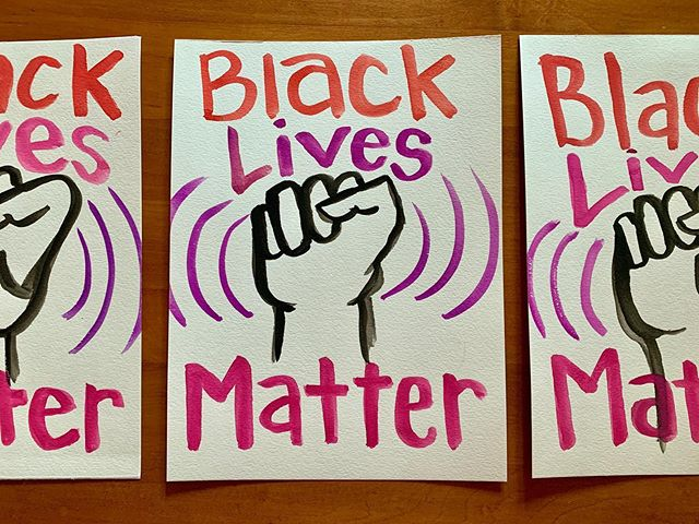 As a little incentive to continue investing in the Black community, I'm offering free BLM art to you! Send me a screenshot of your donation of $25 or more to the nonprofit of your choice, your mailing address, and art preference.  There are a few of each design, and I'll do my best to get you your favorite one-of-a-kind watercolor painting.  Some donation suggestions are @blklivesmatter @innocenceproject @bailproject @naacp_ldf @blacktranstravelfund and City Neighbors Foundation, linked in my bio. But any investment in the Black community counts. *City Neighbors Foundation works to develop public schools that focus on equity and the arts. @raindancer80 is on the board focusing on diversity and inclusion, and alerted me to this wonderful Baltimore-based organization. Donating to them would be a lovely way to thank Raina for her work yesterday.  Thank you to everyone who is giving their time, money, and work to the Black community. Let's keep the momentum up