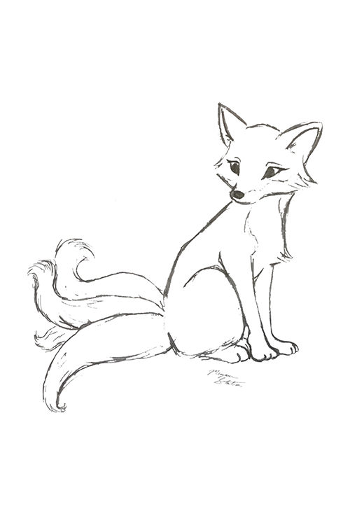 Kitsune Four Tailed Sketch - Welcome to MegaMouseArts!