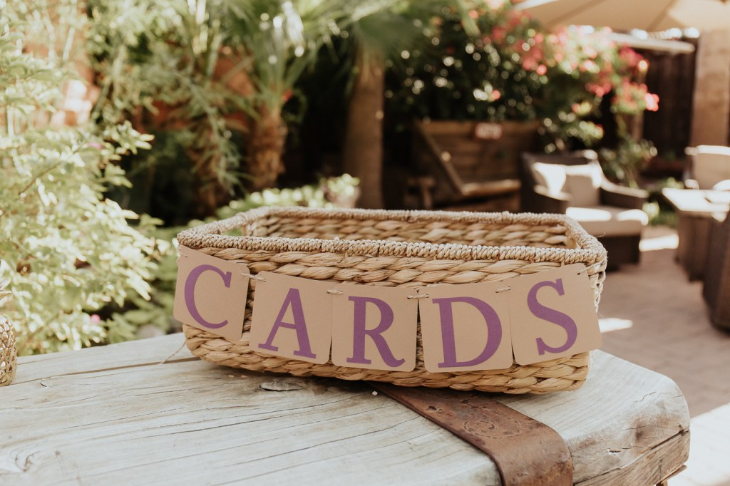 Megan Claire Photography | Arizona Wedding Photographer. Vintage inspired greenhouse arboretum wedding card basket @meganclairephoto