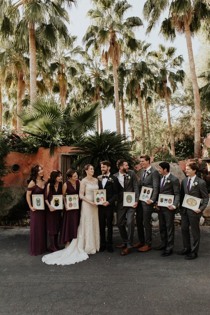 Megan Claire Photography | Arizona Wedding Photographer. Vintage inspired greenhouse arboretum wedding. Bridal party holding prints of cats @meganclairephoto