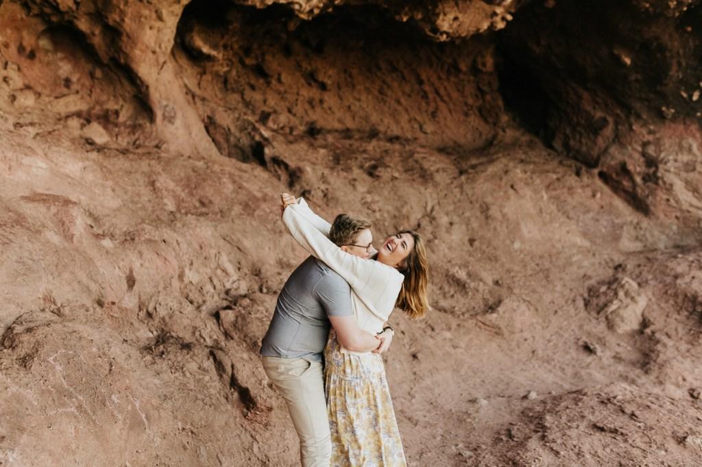Megan Claire Photography | Arizona Wedding and Engagement Photographer. boho arizona desert couples session by red rocks @meganclairephoto