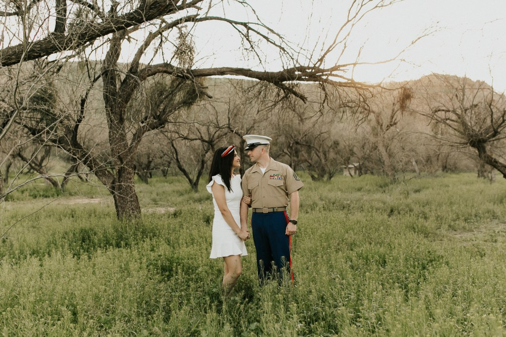 Megan Claire Photography | Arizona Wedding and Engagement Photographer. military marine couples photoshoot in the desert by the river @meganclairephoto