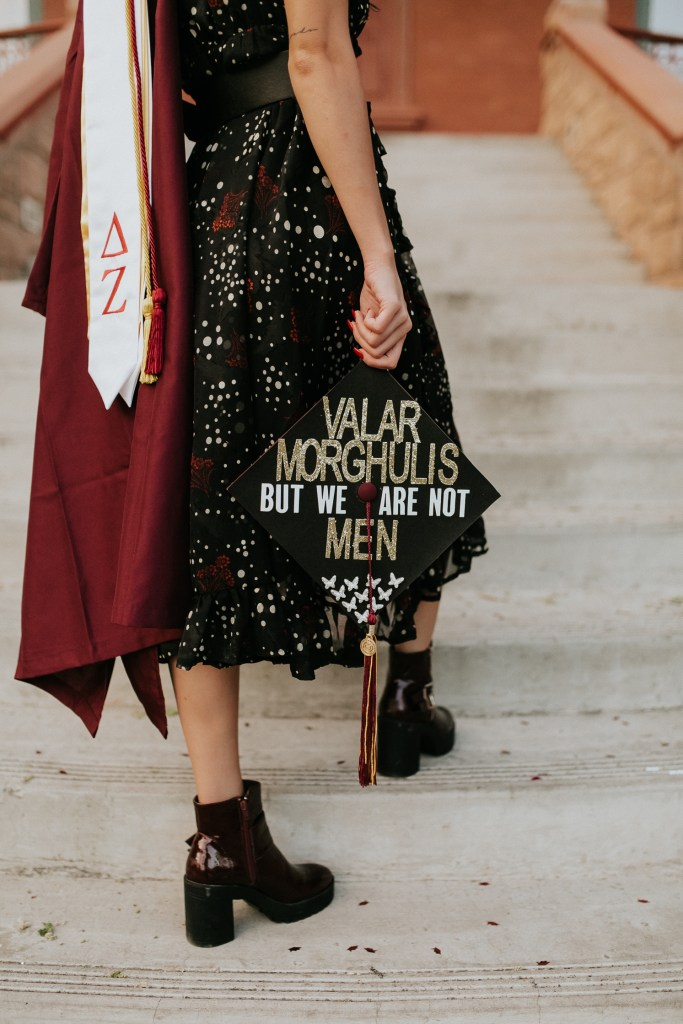 Megan Claire Photography | Phoenix Arizona Wedding and Engagement Photographer. Arizona State University grad photoshoot. Game of thrones graduation cap College Graduation photos at Old Main ASU @meganclairephoto
