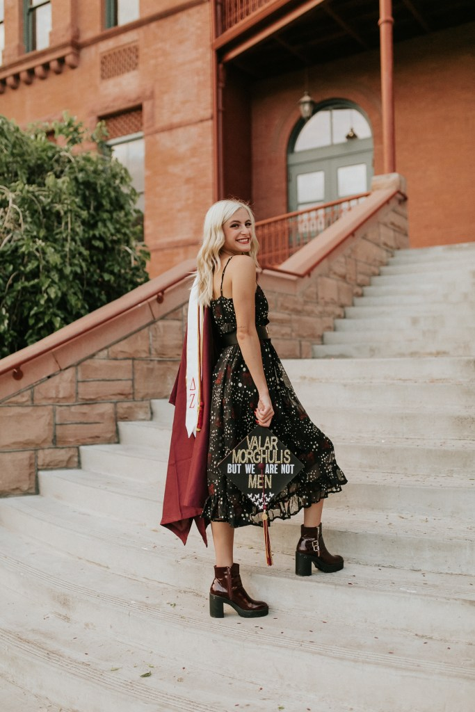 Megan Claire Photography | Phoenix Arizona Wedding and Engagement Photographer. Arizona State University grad photoshoot. College Graduation photos at Old Main ASU @meganclairephoto Game of thrones graduation cap
