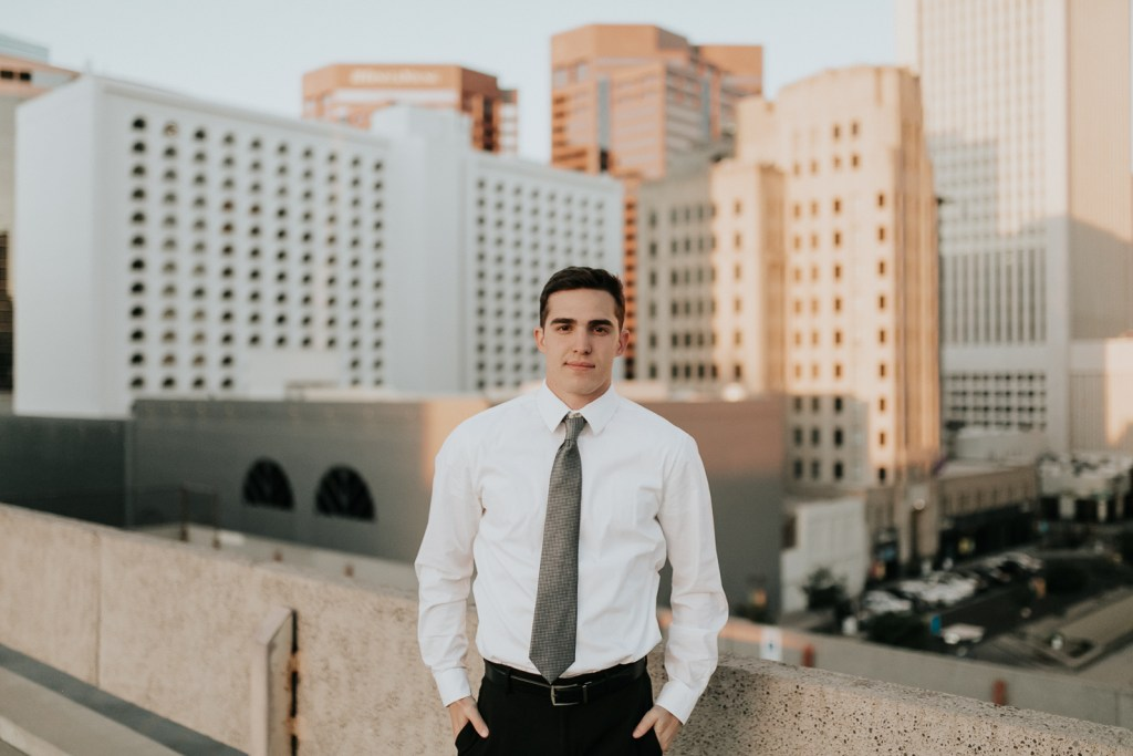 Megan Claire Photography | Phoenix Arizona Wedding and Engagement Photographer. Arizona State University male grad photoshoot. Male college Graduation photos in downtown phoenix, Arizona. City graduation photos