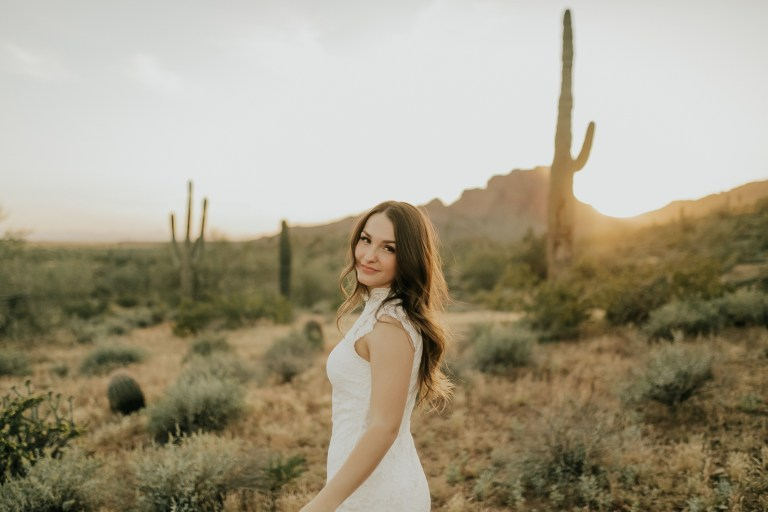 Megan Claire Photography | Phoenix Arizona Wedding and Engagement Photographer. Arizona grad portrait photoshoot in the desert at Phon D Sutton Recreation area in Mesa, Arizona @meganclairephoto