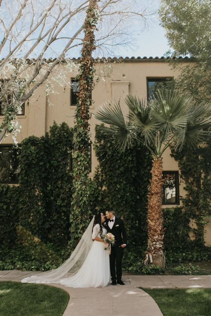 Megan Claire Photography | Arizona Wedding Photographer. Beautiful church wedding. Bride  and Groom portraits at Brophy Chapel in Phoenix Arizona