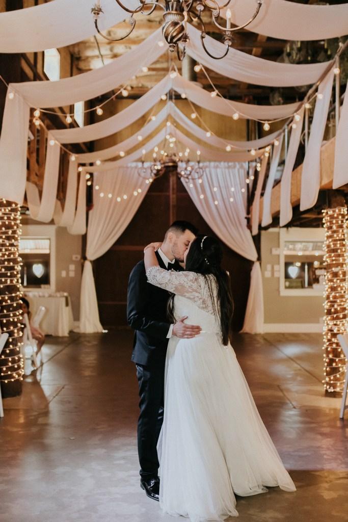 Megan Claire Photography | Arizona Wedding Photographer. Beautiful church wedding. Bride  and Groom wedding reception at elegant barn in Gilbert, Arizona