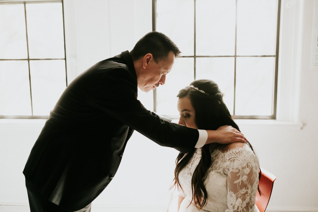 Megan Claire Photography | Arizona Wedding Photographer. Bride getting ready photos father praying for bride