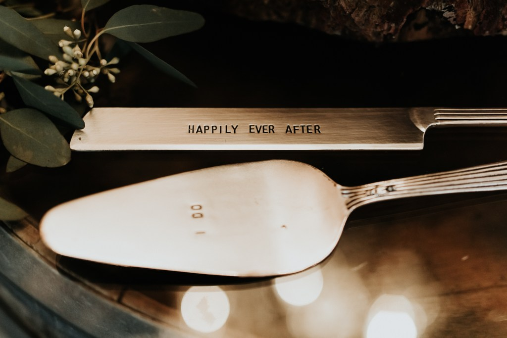 Megan Claire Photography | Arizona Wedding Photographer. Beautiful church wedding. Bride  and Groom wedding reception at elegant barn in Gilbert, Arizona  happily ever after and I do cake cutters
