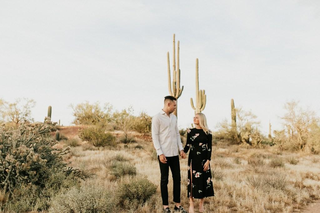 Megan Claire Photography | Arizona Wedding and Engagement Photographer.  arizona desert engagement session at sunset @meganclairephoto
