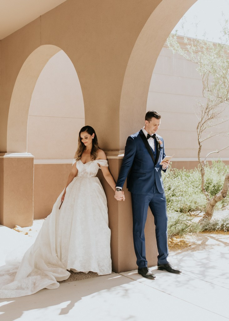 Megan Claire Photography | Arizona Wedding Photographer. Beautiful summer wedding in the desert at the Wright House in Mesa, Arizona. Bride and groom reading vows privately