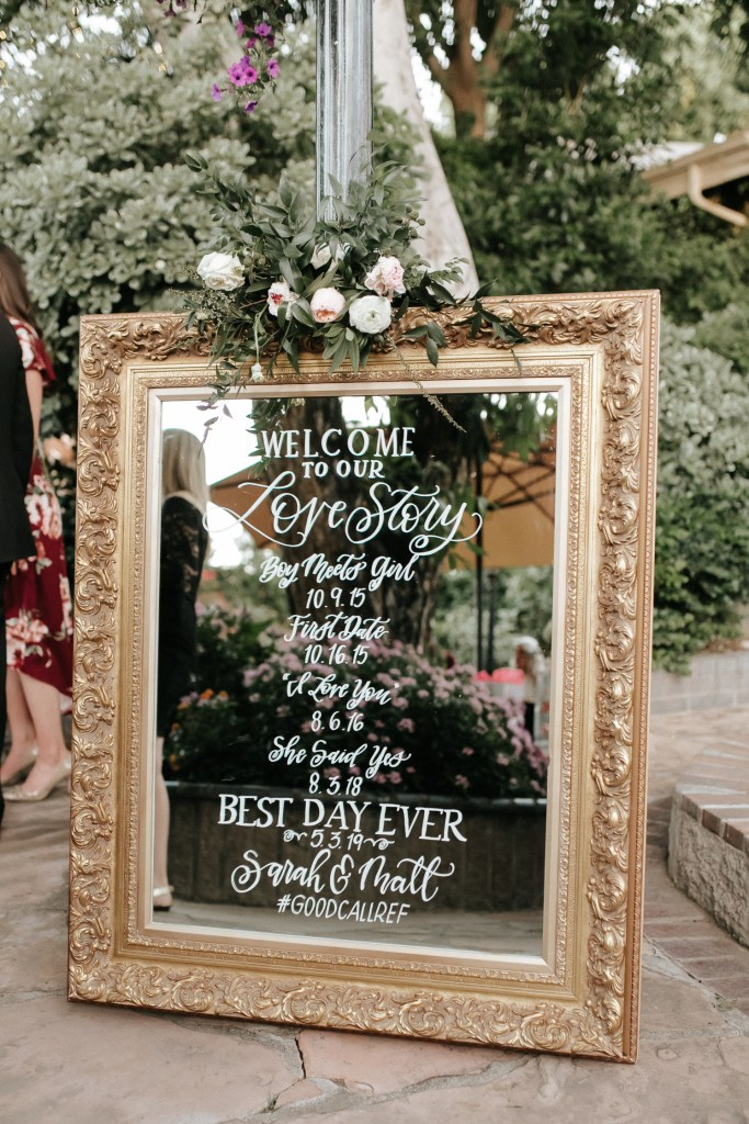 Megan Claire Photography | Arizona Wedding Photographer. Beautiful summer wedding in the desert at the Wright House in Mesa, Arizona. Gold mirror with bride and groom love story. Beautiful reception decor