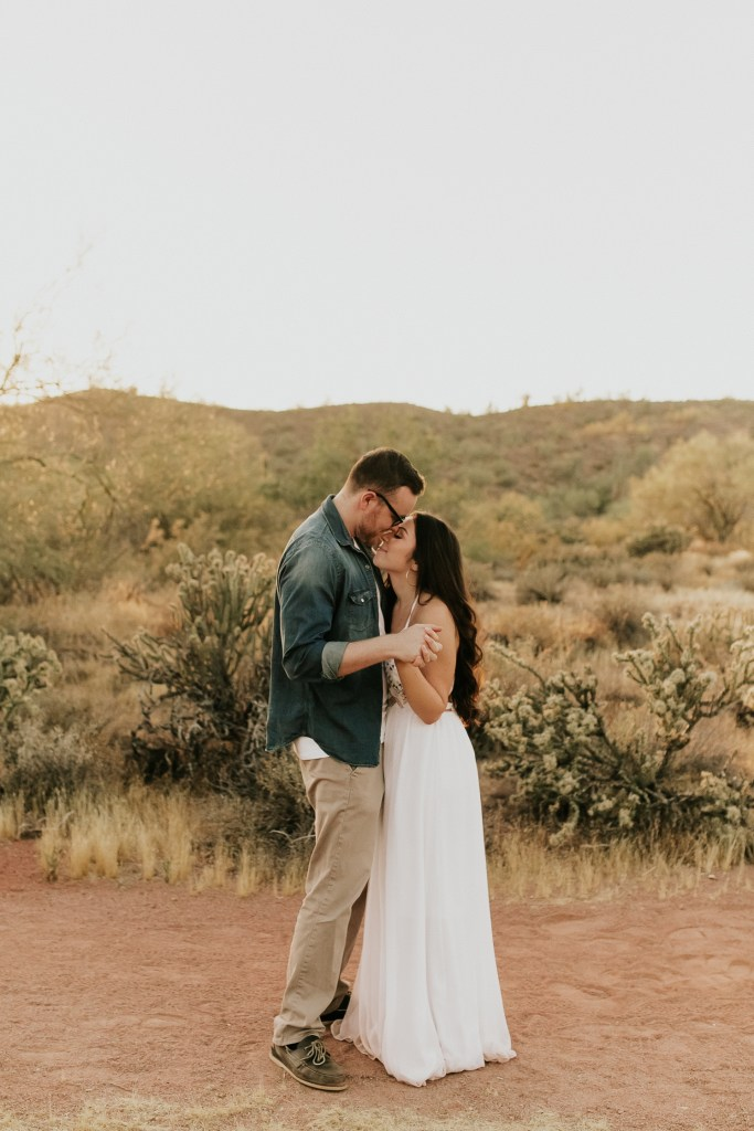 Megan Claire Photography | Arizona Wedding and Engagement Photographer.  arizona desert engagement session at sunset @meganclairephoto
