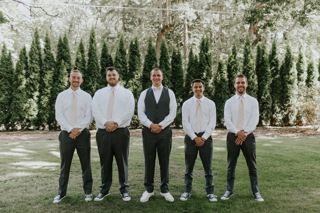 Megan Claire Photography | Arizona Wedding Photographer | Megan-Claire.com | Beautiful summer wedding in Portland, Oregon. Summer forest wedding inspiration. Groomsmen in converse