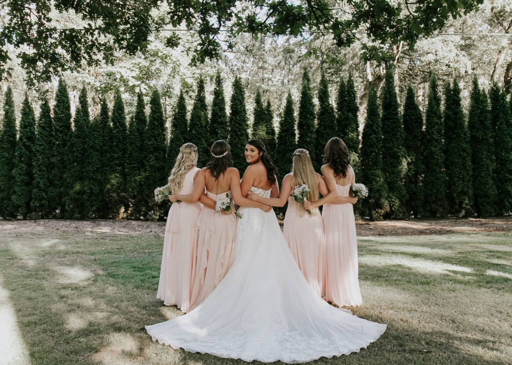 Megan Claire Photography | Arizona Wedding Photographer | Megan-Claire.com | Beautiful summer wedding in Portland, Oregon. Summer forest wedding inspiration. Bridesmaids in blush pink
