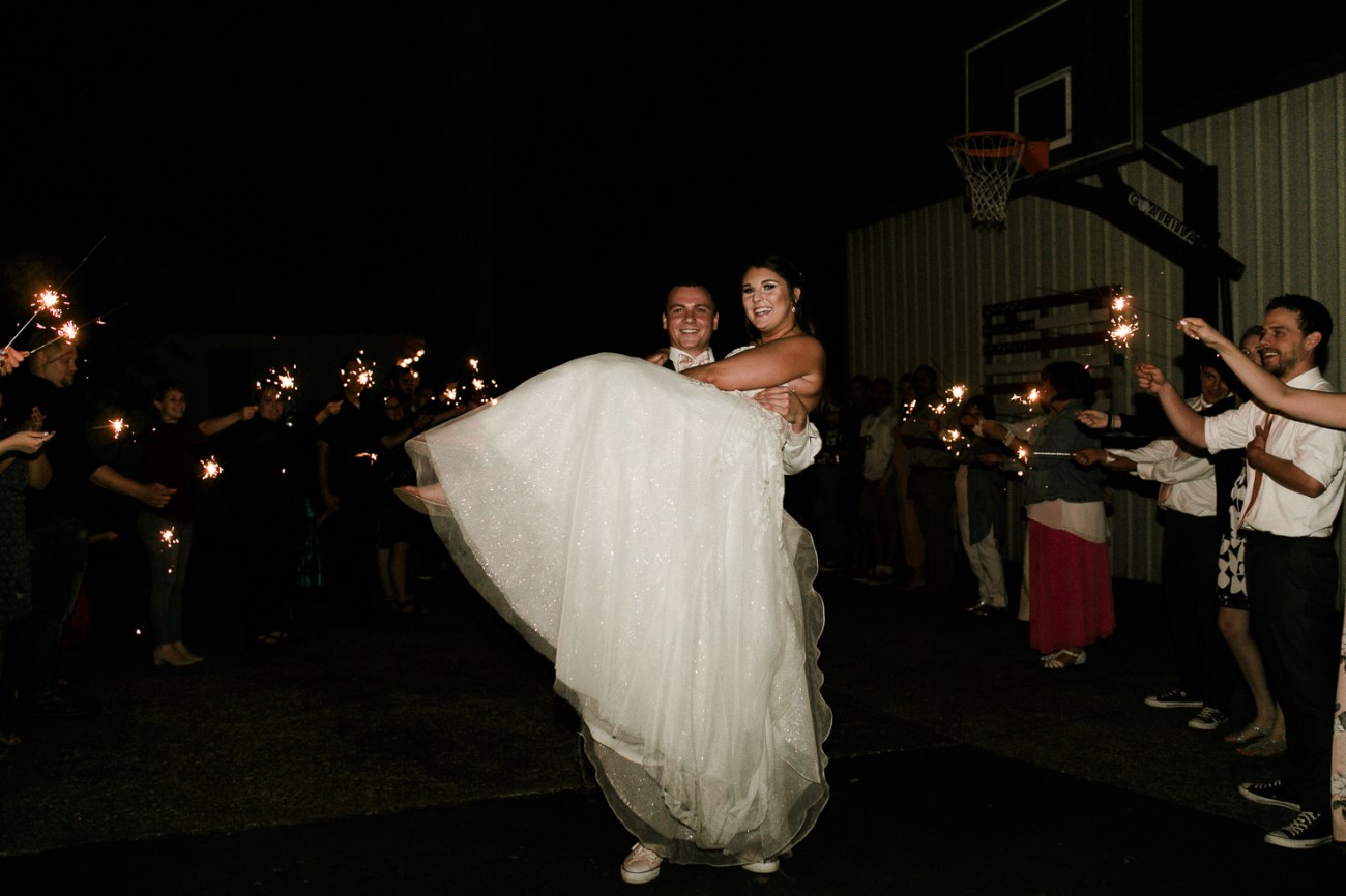 Megan Claire Photography | Arizona Wedding Photographer | Megan-Claire.com | Beautiful summer wedding in Portland, Oregon. Summer forest wedding inspiration. Bride and groom sparkler exit