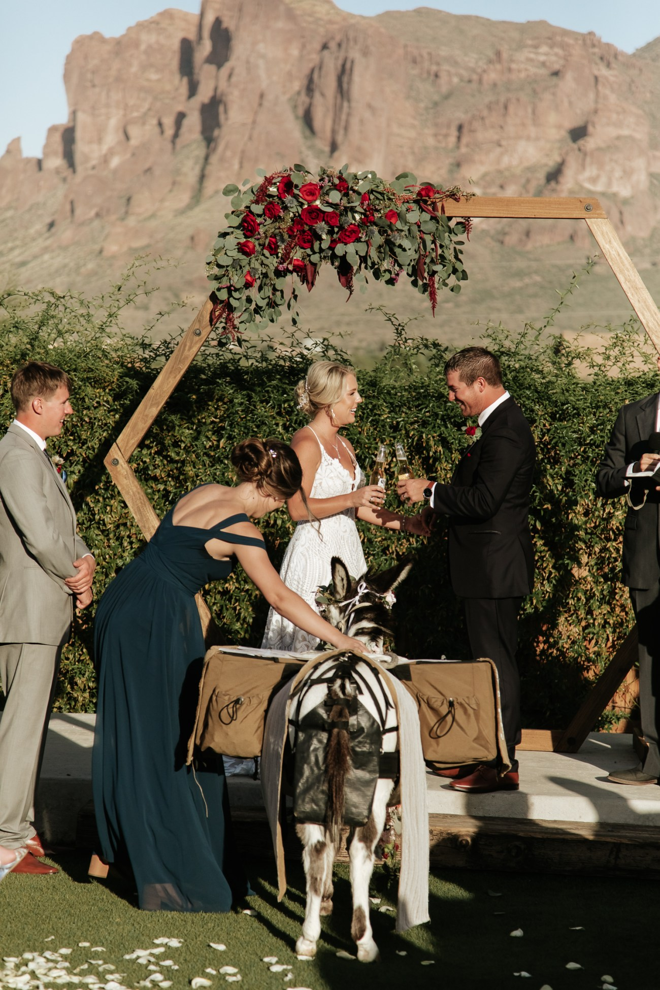 Megan Claire Photography | Arizona Wedding Photographer. Beautiful fall wedding in the desert at the Paseo in Apache Junction, Arizona near superstition mountains. Beer burro @meganclairephoto