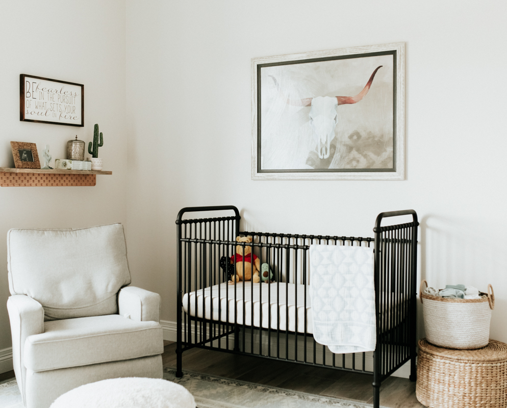 Megan Claire Photography | Cozy In Home Newborn Session. Rustic Nursery for baby Boy