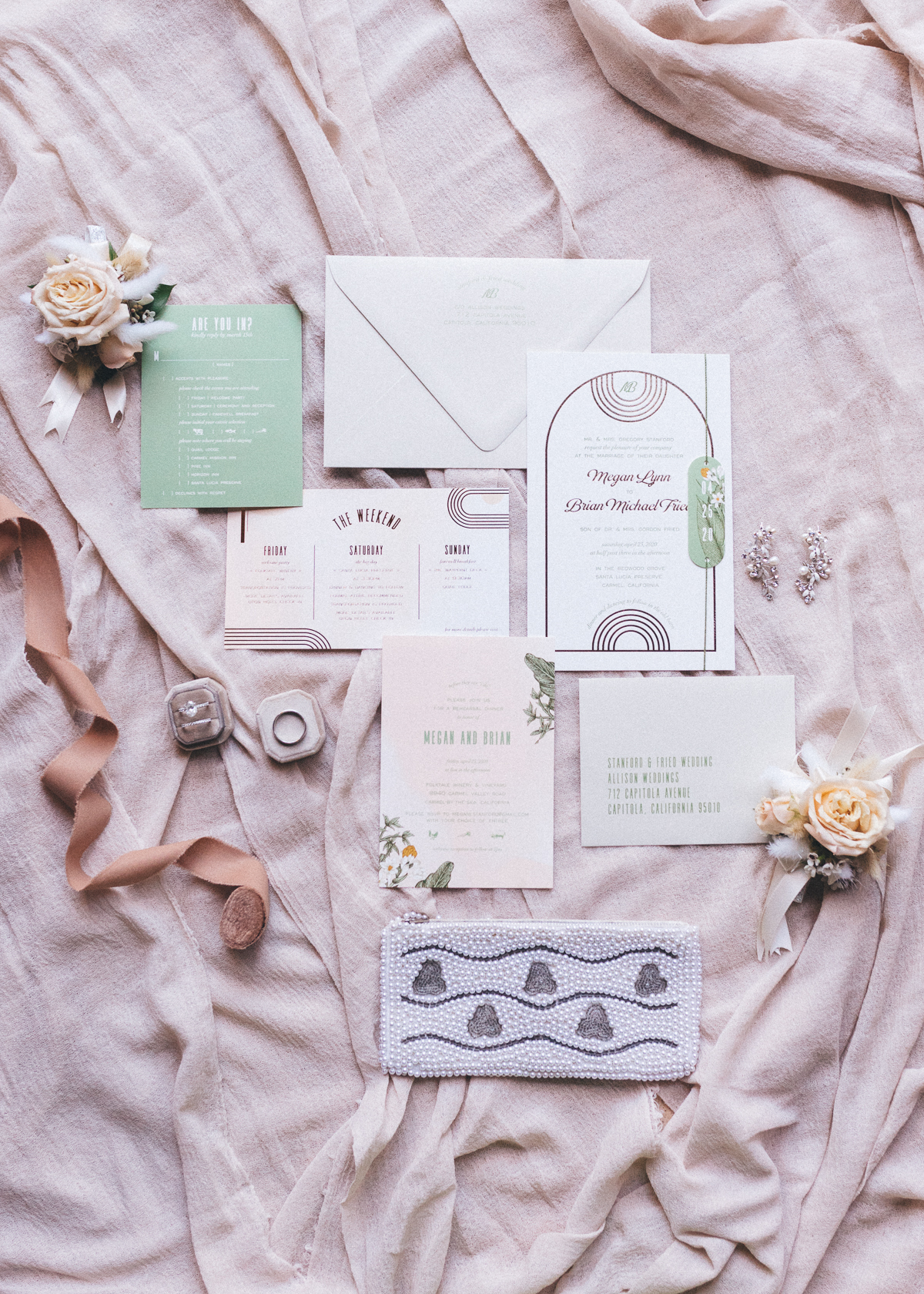 Megan Claire Photography | Arizona Wedding Photographer.  Elegant Scottsdale Backyard Wedding. Wedding Invitation Details