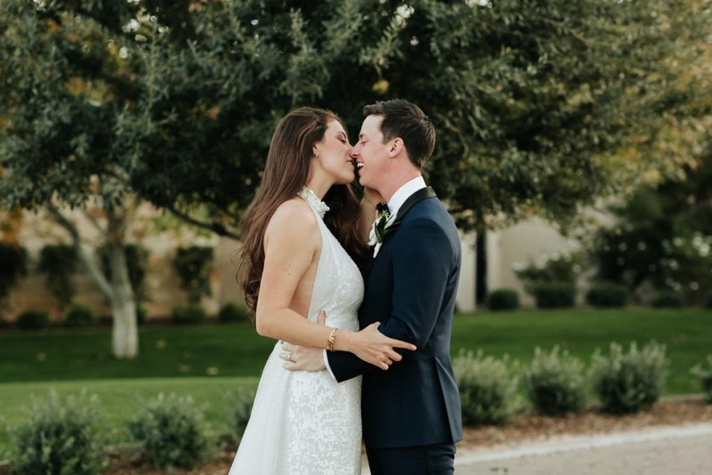 Megan Claire Photography | Arizona Wedding Photographer.  Elegant Scottsdale Backyard Wedding Bride and Groom Portraits