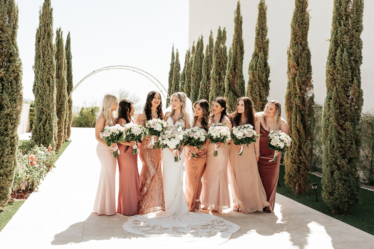 Megan Claire Photography | Arizona Luxury Wedding Photographer. Modern Glam wedding at Chateau Luxe with Catholic Church Ceremony