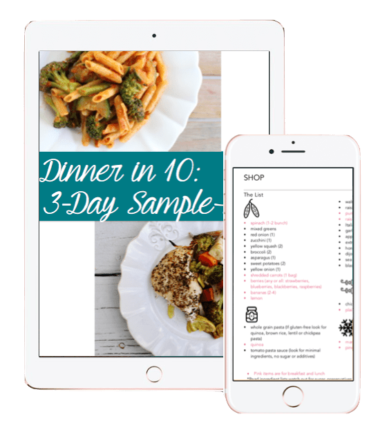 3day sample meal plan preview