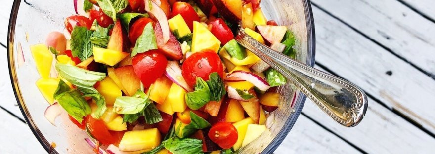 tomato basil fruit salad