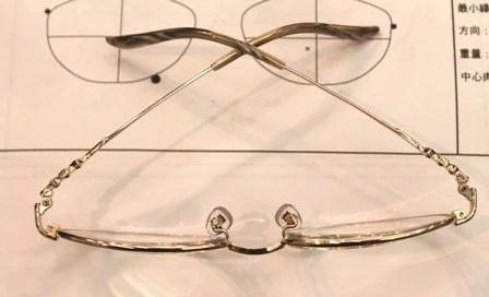 上部から見たレンズの厚み、外斜位でレンズは鼻側に厚みが出ている