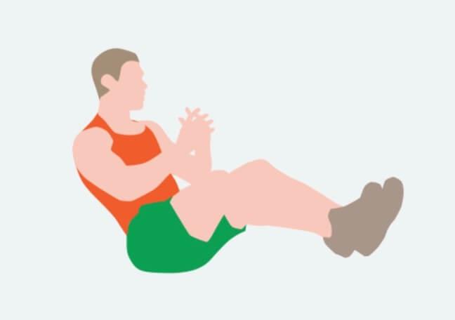 腹筋 アプリ おすすめ 鍛える トレーニング 無料 効果 カウント 便秘 オレンジのタンクトップを着た男性 座っている 手を組んでいる