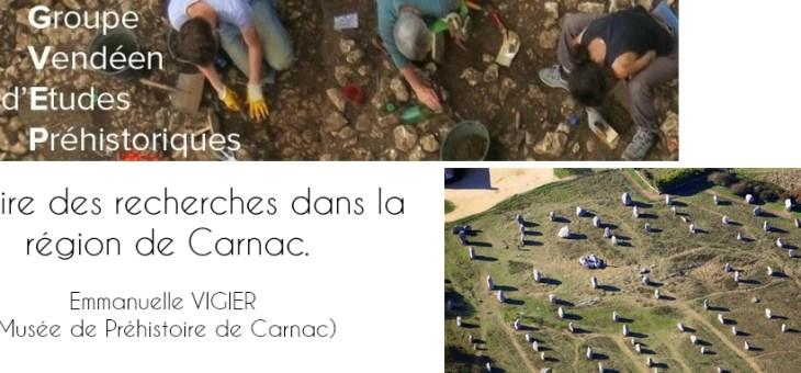 Conférence de préhistoire et d'archéologie (85) : Histoire des recherches dans la région de Carnac.