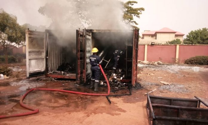 Container laden with card readers on fire at INEC office in Anambra