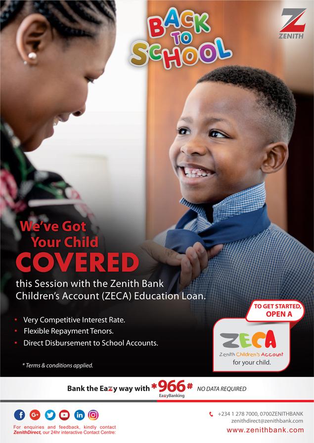 Zenith Bank offers ZECA Education loan for children