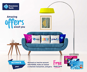 Keystone Bank to customers: Activate dormant account, get free debit card