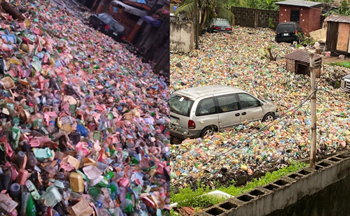 Surulere overtaken by heaps of refuse after last night's rain (photos/videos)
