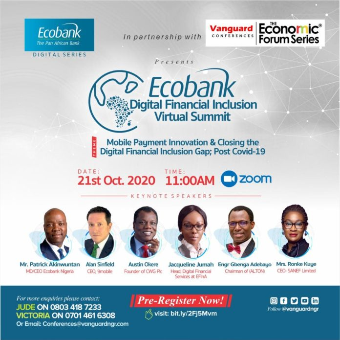 Alan Sinfield, Austin Okere, other to lead thematic conversations at Ecobank Vanguard digital financial inclusion summit