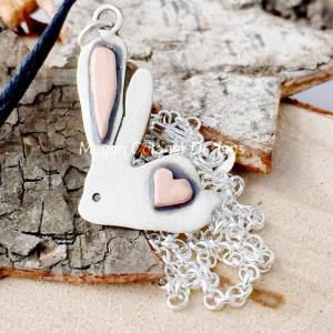 Sterling Silver Bunny Heart Pendant
