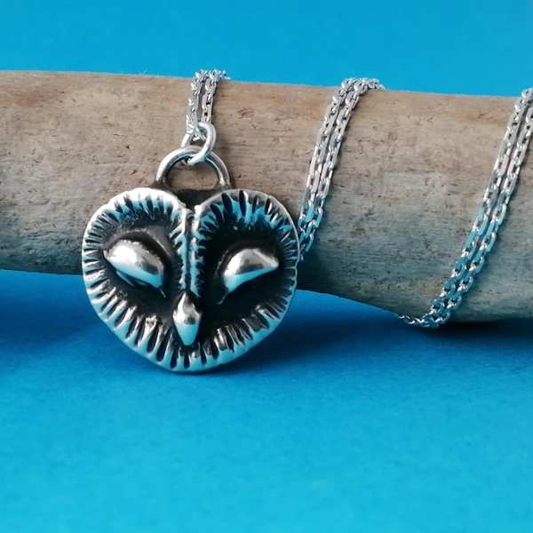 Sterling Silver Mystic Barn Owl Necklace